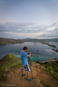 Chris taking photographs inin Komodo National Park, Indonesia